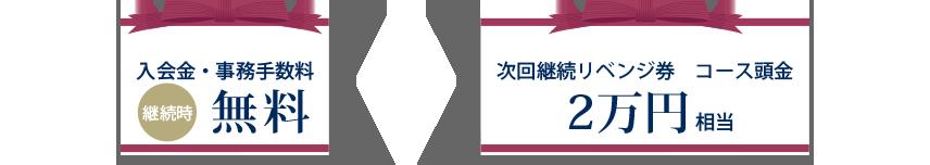 入会金・事務手数料無料+次回継続リベンジ券 コース頭金2万円相当